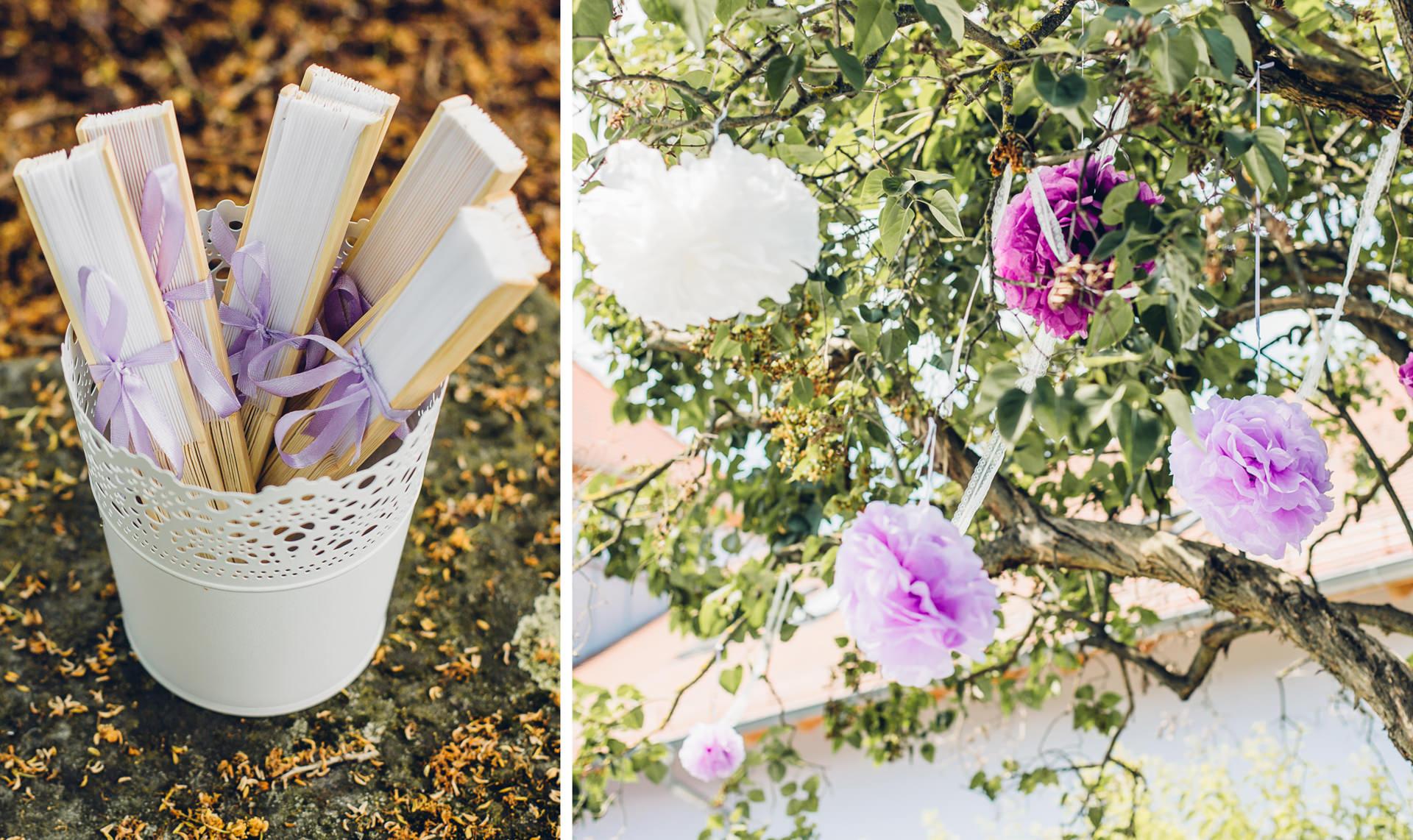 Details einer freien Trauung in lila Tönen