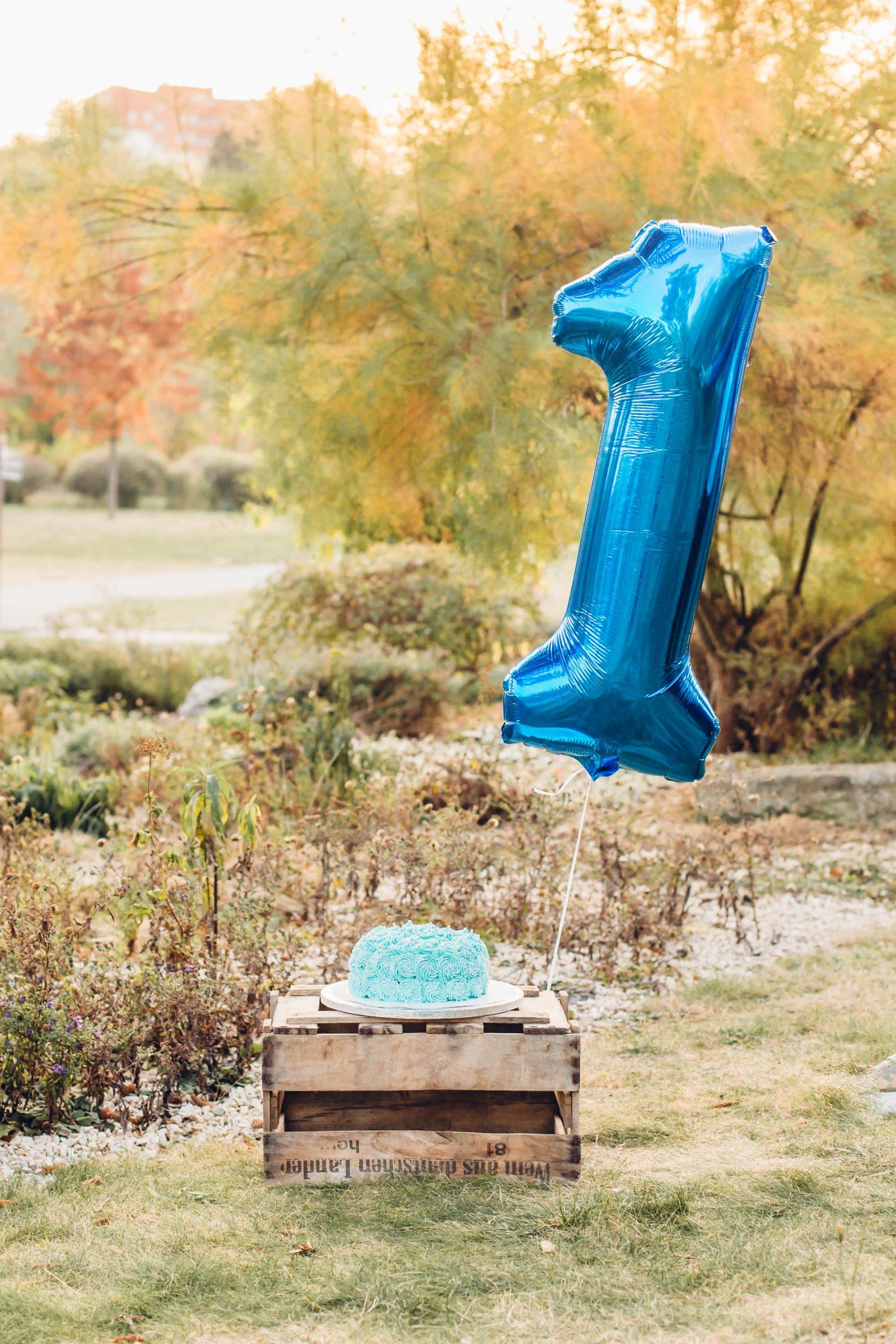 1. Geburtstag fotografisch festhalten, Holzhiste mit blauer Cremetorte und einer 1. als Luftballon