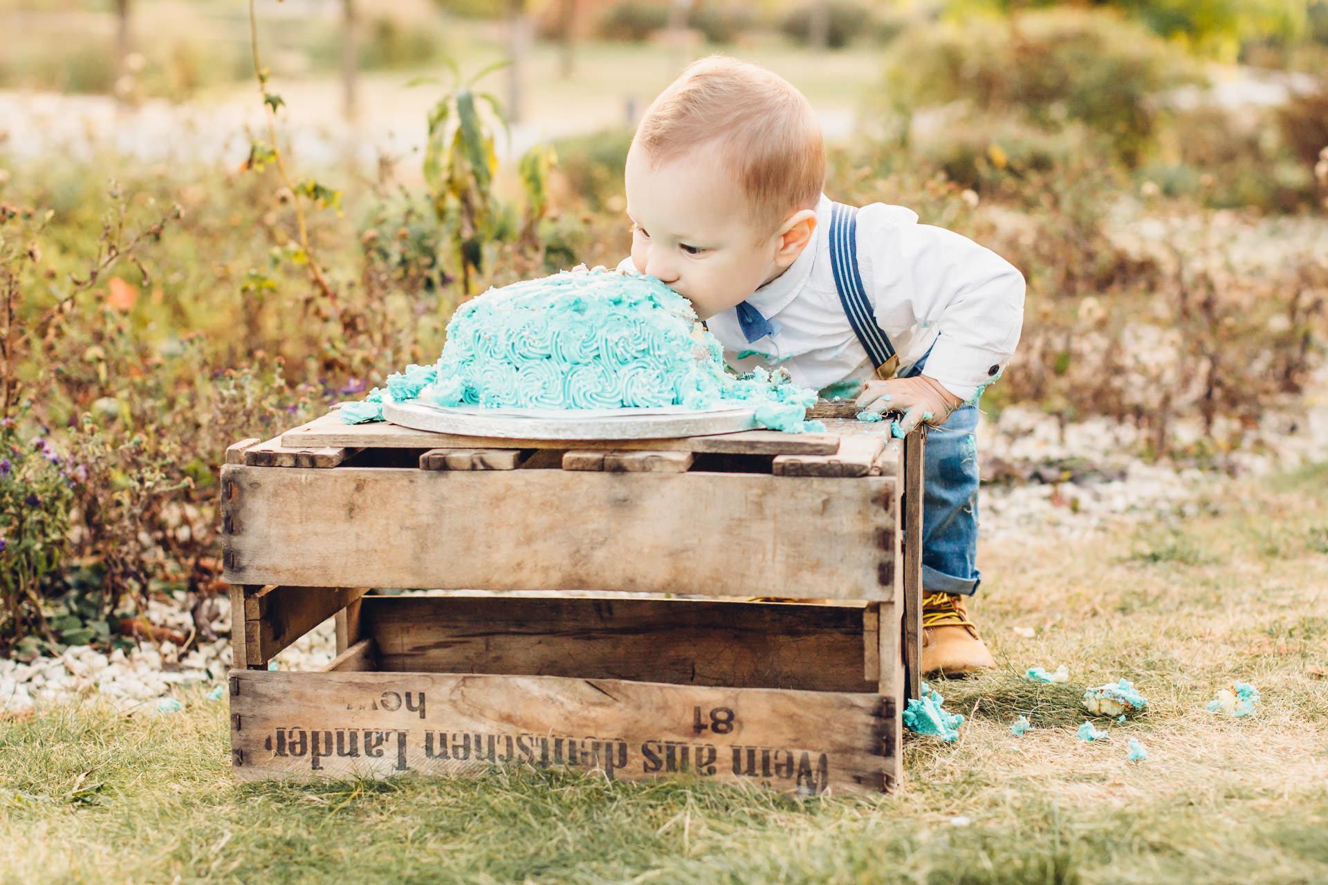 Cake Smash Fotoshooting zum 1. Geburtstag