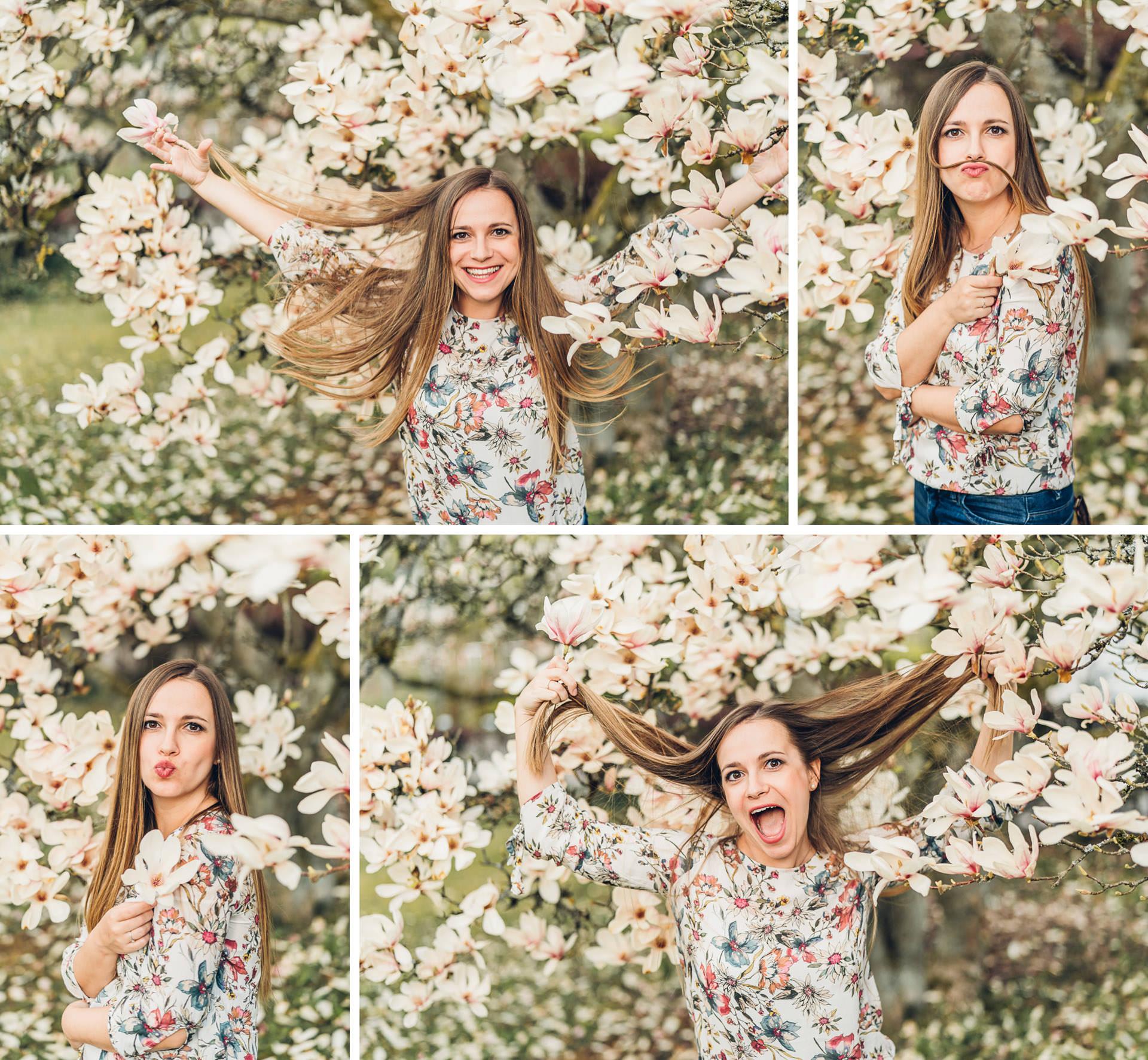 lustige Portraits beim ersten Fotoshooting in Magnolien