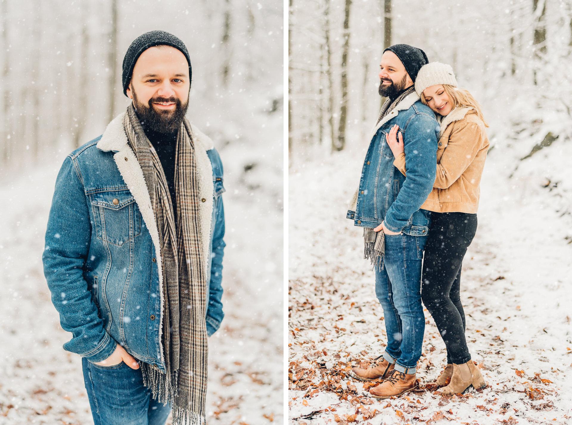 Pärchenshooting im Schnee im Pfälzer Wald