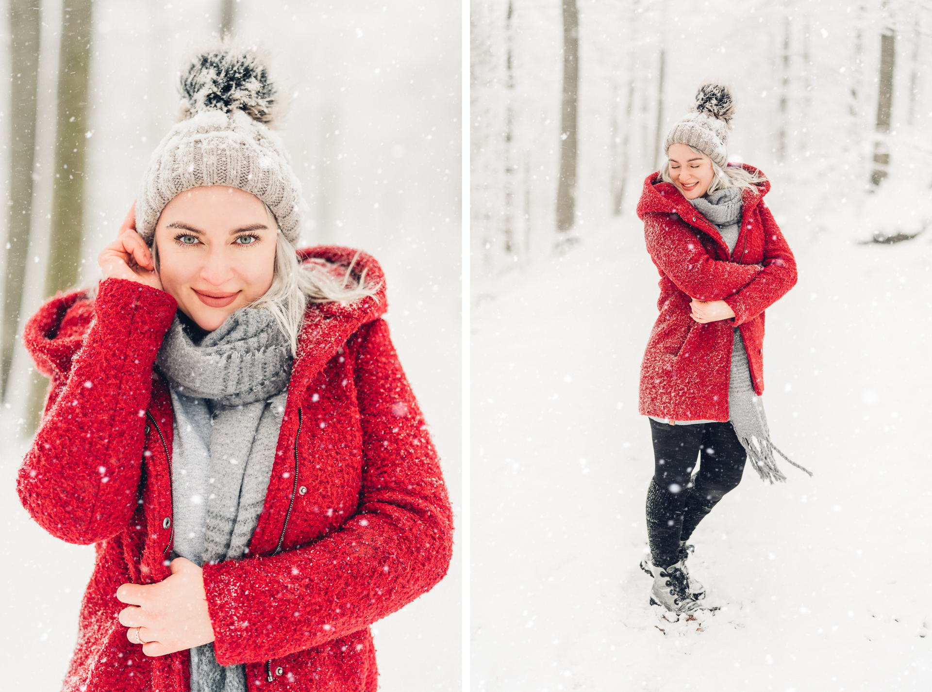 Natürliche Portraits im roten Mantel im Schnee