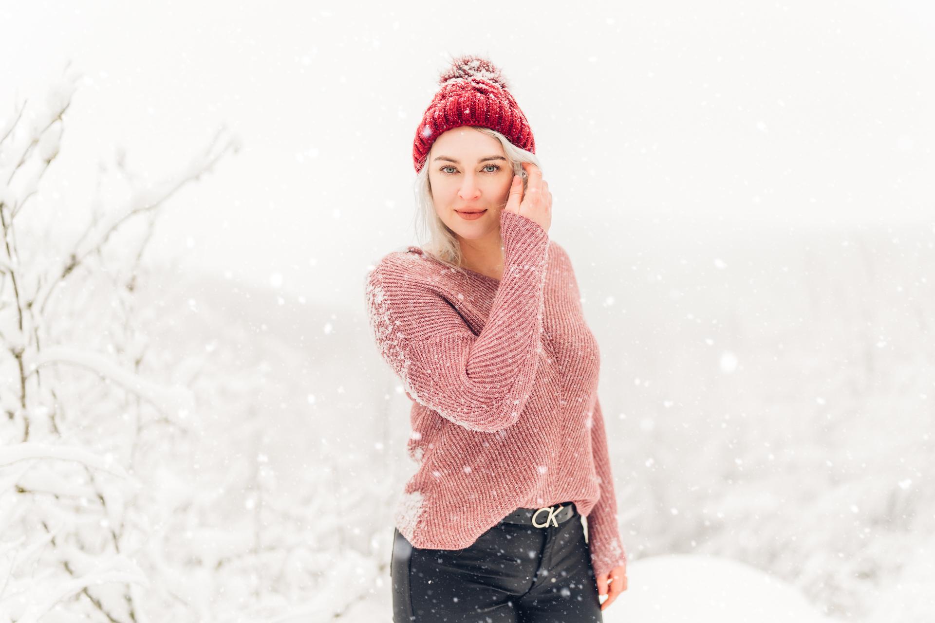 Frauenportrait im Schnee Fotograf Pirmasens