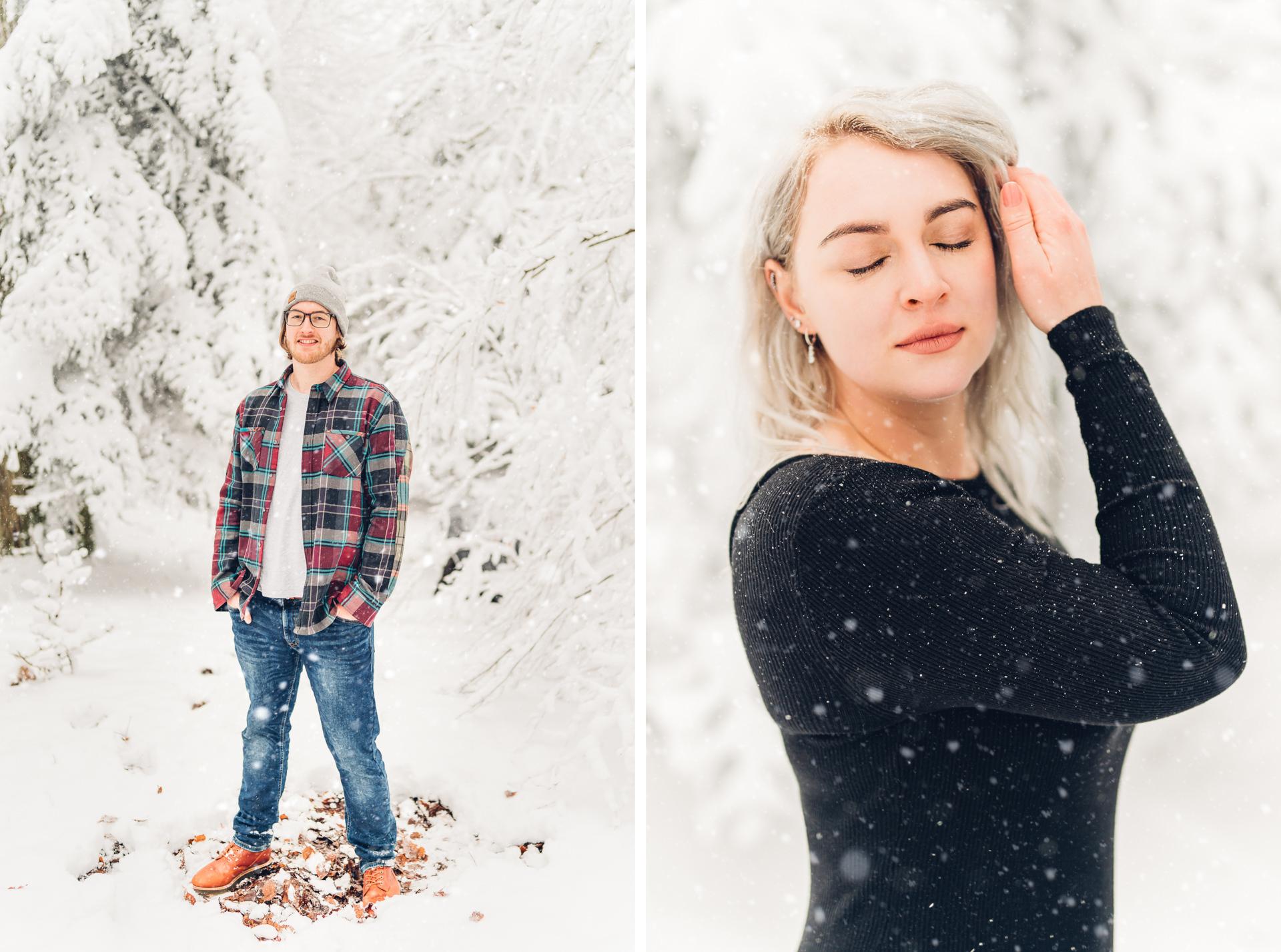 winterliche Pärchenfotos im Schnee