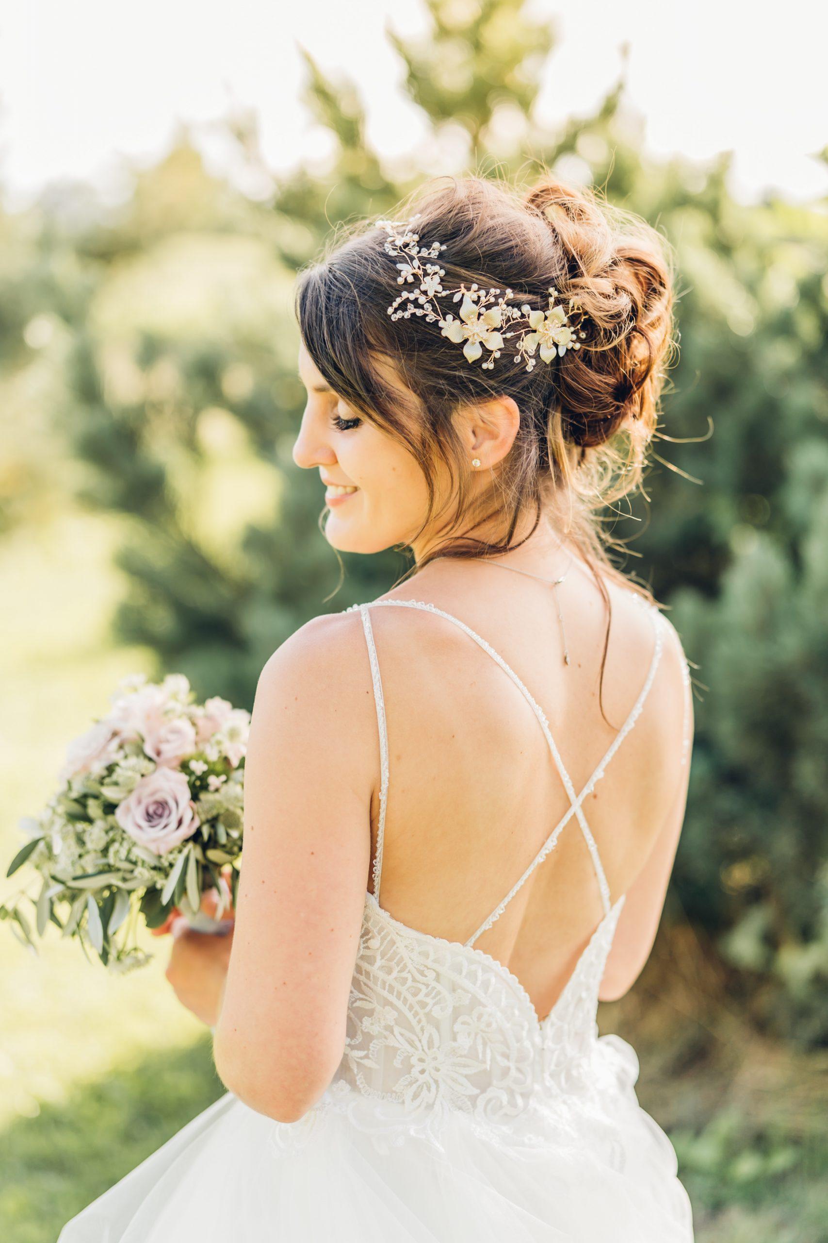 Brautportrait bei Hochzeit im Weingut Höflich