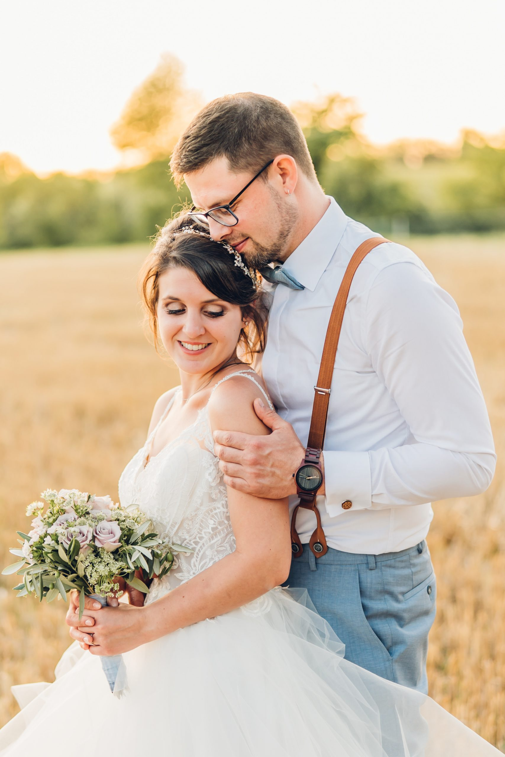 Brautpaarfotos im Sunset am Weingut Höflich