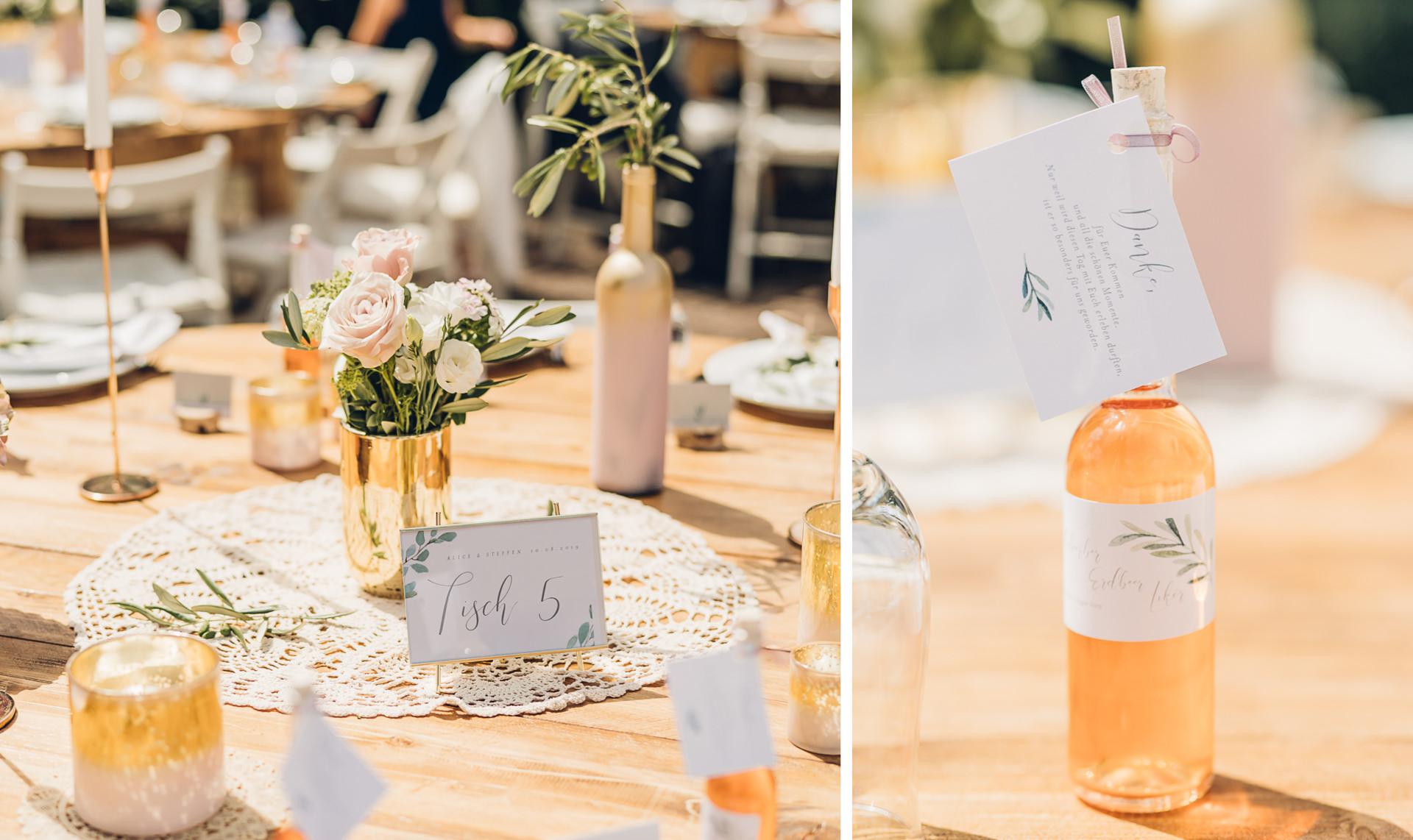 Tischdeko bei einer Hochzeitsfeier auf dem Weingut Höflich
