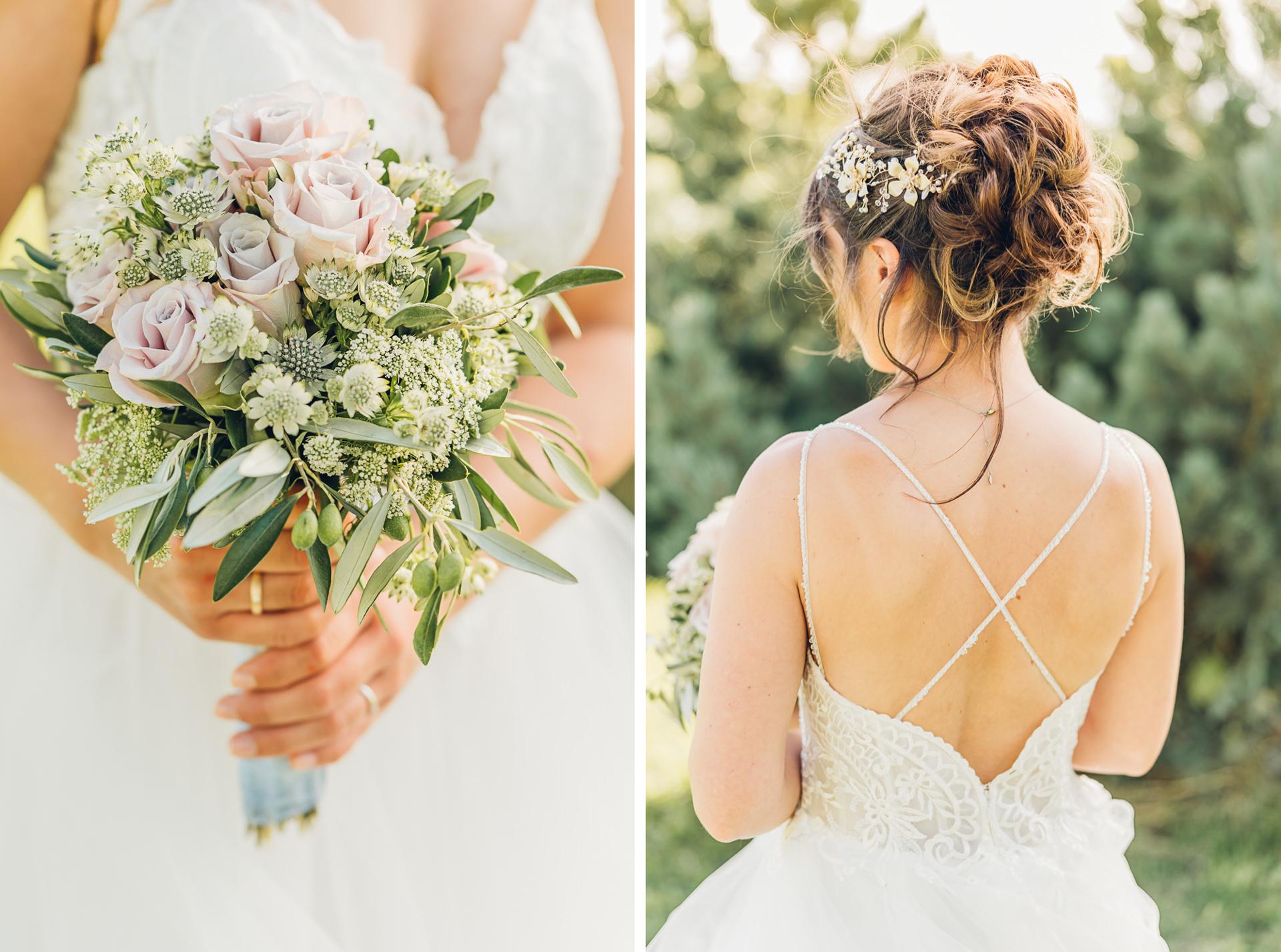 Wunderschöne Brautfrisur und Strauß auf dem Weingut Höflich